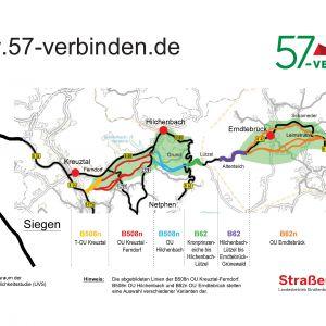 Grafik des Streckenzugs B508/B62 mit verschiedenen Teilabschnitten