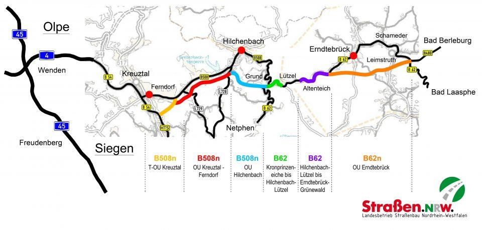 Möglicher Verlauf des Streckenzugs B508/B62