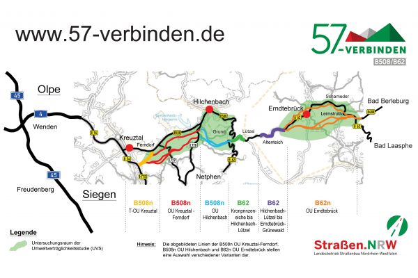 Aktualisierte Übersichtskarte des Streckenzugs B508/B62